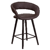 Brynn Series 23.75'' High Contemporary Cappuccino Wood Counter Height Stool in Brown Vinyl