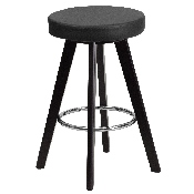 Trenton Series 24'' High Contemporary Cappuccino Wood Counter Height Stool with Black Vinyl Seat