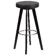 Trenton Series 29'' High Contemporary Cappuccino Wood Barstool with Black Vinyl Seat