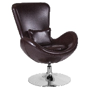 Egg Series Brown LeatherSoft Side Reception Chair