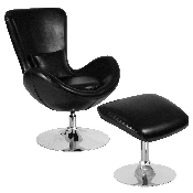 Egg Series Black LeatherSoft Side Reception Chair with Ottoman