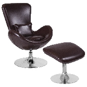 Egg Series Brown LeatherSoft Side Reception Chair with Ottoman