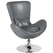 Egg Series Gray LeatherSoft Side Reception Chair