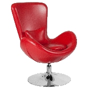 Egg Series Red LeatherSoft Side Reception Chair