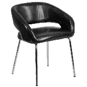 Fusion Series Contemporary Black LeatherSoft Side Reception Chair