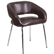 Fusion Series Contemporary Brown LeatherSoft Side Reception Chair