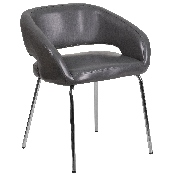 Fusion Series Contemporary Gray LeatherSoft Side Reception Chair
