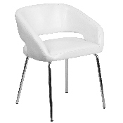 Fusion Series Contemporary White LeatherSoft Side Reception Chair