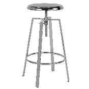 Toledo Industrial Style Barstool with Swivel Lift Adjustable Height Seat in Chrome Finish