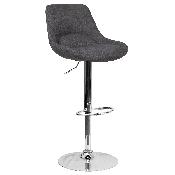 Contemporary Dark Gray Fabric Adjustable Height Barstool with Chrome Base