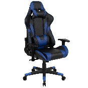 X20 Gaming Chair Racing Office Ergonomic Computer PC Adjustable Swivel Chair with Reclining Back in Blue LeatherSoft