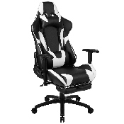 X30 Gaming Chair Racing Office Ergonomic Computer Chair with Fully Reclining Back and Slide-Out Footrest in Black LeatherSoft