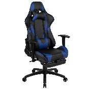 X30 Gaming Chair Racing Office Ergonomic Computer Chair with Reclining Back and Slide-Out Footrest in Blue LeatherSoft