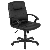 Flash Fundamentals Mid-Back Black LeatherSoft-Padded Task Office Chair with Arms, BIFMA Certified