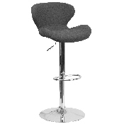 Contemporary Charcoal Fabric Adjustable Height Barstool with Curved Back and Chrome Base