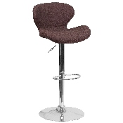 Contemporary Brown Fabric Adjustable Height Barstool with Curved Back and Chrome Base