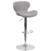 Contemporary Gray Fabric Adjustable Height Barstool with Curved Back and Chrome Base