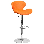Contemporary Orange Vinyl Adjustable Height Barstool with Curved Back and Chrome Base
