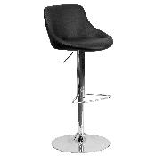 Contemporary Black Vinyl Bucket Seat Adjustable Height Barstool with Chrome Base