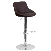 Contemporary Brown Vinyl Bucket Seat Adjustable Height Barstool with Chrome Base
