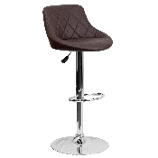 Contemporary Brown Vinyl Bucket Seat Adjustable Height Barstool with Diamond Pattern Back and Chrome Base