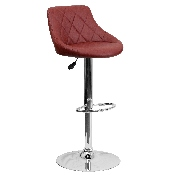 Contemporary Burgundy Vinyl Bucket Seat Adjustable Height Barstool with Diamond Pattern Back and Chrome Base