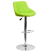 Contemporary Green Vinyl Bucket Seat Adjustable Height Barstool with Diamond Pattern Back and Chrome Base