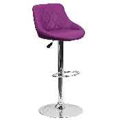 Contemporary Purple Vinyl Bucket Seat Adjustable Height Barstool with Diamond Pattern Back and Chrome Base