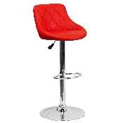 Contemporary Red Vinyl Bucket Seat Adjustable Height Barstool with Diamond Pattern Back and Chrome Base