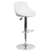 Contemporary White Vinyl Bucket Seat Adjustable Height Barstool with Diamond Pattern Back and Chrome Base