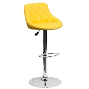 Contemporary Yellow Vinyl Bucket Seat Adjustable Height Barstool with Diamond Pattern Back and Chrome Base