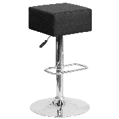 Contemporary Black Vinyl Adjustable Height Barstool with Square Seat and Chrome Base