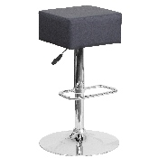 Contemporary Gray Vinyl Adjustable Height Barstool with Square Seat and Chrome Base