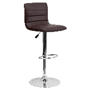 Modern Brown Vinyl Adjustable Bar Stool with Back, Counter Height Swivel Stool with Chrome Pedestal Base
