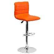 Modern Orange Vinyl Adjustable Bar Stool with Back, Counter Height Swivel Stool with Chrome Pedestal Base