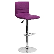 Modern Purple Vinyl Adjustable Bar Stool with Back, Counter Height Swivel Stool with Chrome Pedestal Base