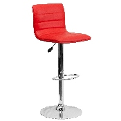 Modern Red Vinyl Adjustable Bar Stool with Back, Counter Height Swivel Stool with Chrome Pedestal Base