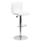 Modern White Vinyl Adjustable Bar Stool with Back, Counter Height Swivel Stool with Chrome Pedestal Base