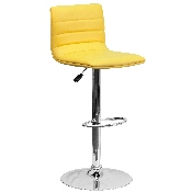 Modern Yellow Vinyl Adjustable Bar Stool with Back, Counter Height Swivel Stool with Chrome Pedestal Base