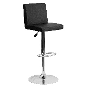 Contemporary Black Vinyl Adjustable Height Barstool with Panel Back and Chrome Base