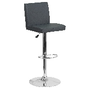Contemporary Gray Vinyl Adjustable Height Barstool with Panel Back and Chrome Base