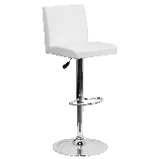 Contemporary White Vinyl Adjustable Height Barstool with Panel Back and Chrome Base