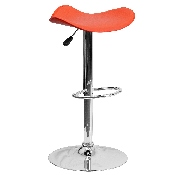 Contemporary Orange Vinyl Adjustable Height Barstool with Wavy Seat and Chrome Base