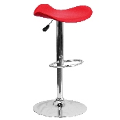 Contemporary Red Vinyl Adjustable Height Barstool with Wavy Seat and Chrome Base