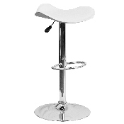 Contemporary White Vinyl Adjustable Height Barstool with Wavy Seat and Chrome Base