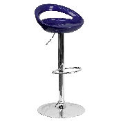 Contemporary Blue Plastic Adjustable Height Barstool with Rounded Cutout Back and Chrome Base