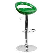 Contemporary Green Plastic Adjustable Height Barstool with Rounded Cutout Back and Chrome Base