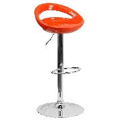 Contemporary Orange Plastic Adjustable Height Barstool with Rounded Cutout Back and Chrome Base
