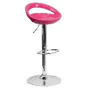 Contemporary Pink Plastic Adjustable Height Barstool with Rounded Cutout Back and Chrome Base