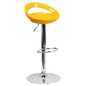 Contemporary Yellow Plastic Adjustable Height Barstool with Rounded Cutout Back and Chrome Base